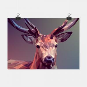 Hirsch Illustration aus Polygonen als Poster für die Wand