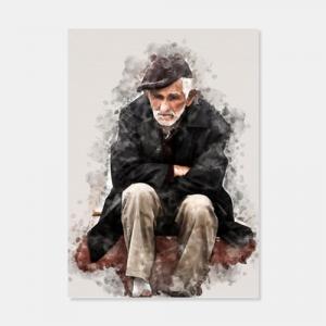 Poster mit einem armen sitzenden alten Mann als Aquarell