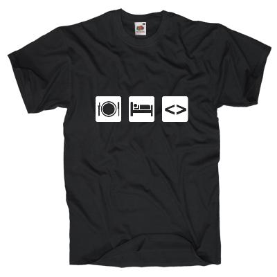 Essen, Schlafen, Code T-Shirt Shirt online mit dem Shirtdesigner gestalten
